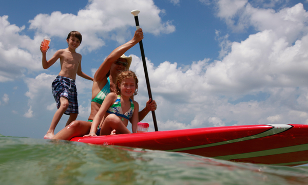 Sit down paddle boarding
